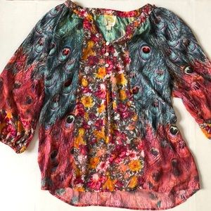 Anthropologie Fig and Flower Peacock Sheer Tunic